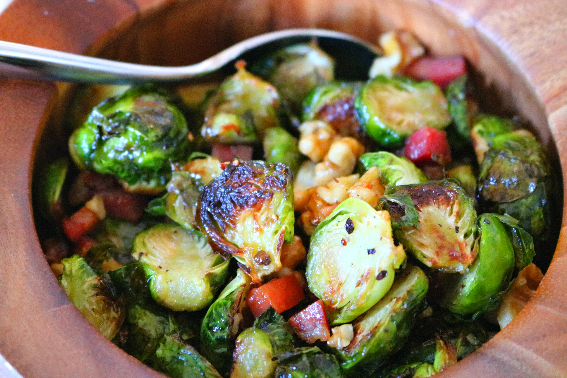 Maple Glazed Brussels Sprouts with Pancetta and Walnuts - just 4 main ingredients make this side dish quick and easy ~ www.mangiamichelle.com