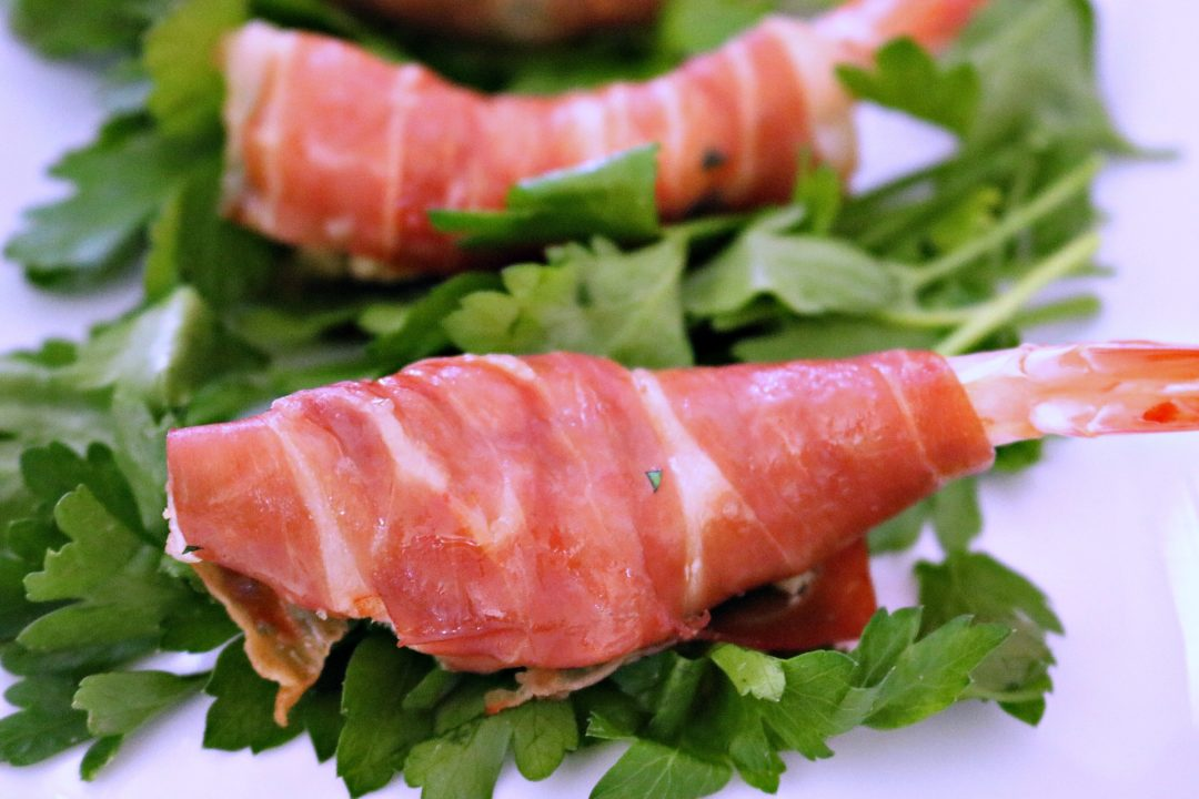 Shrimp wrapped in prosciutto - this elegant appetizer will have your guests running to the table ~ www.mangiamichelle.com
