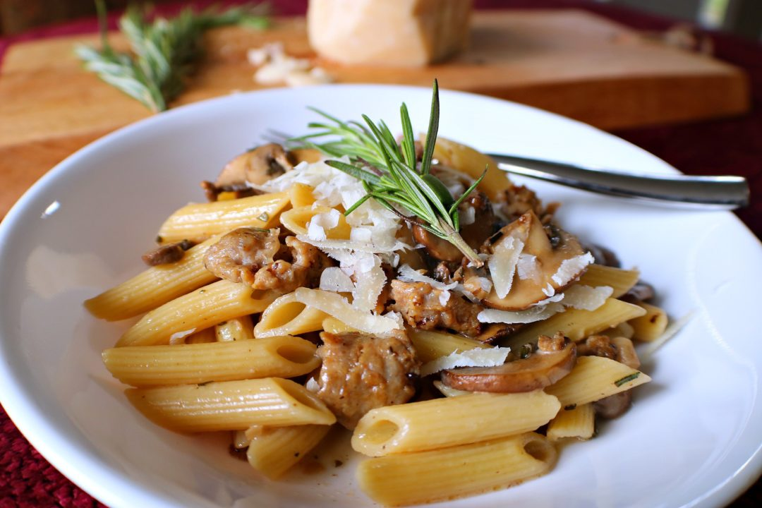 Penne marsala with sausage rosemary mushrooms