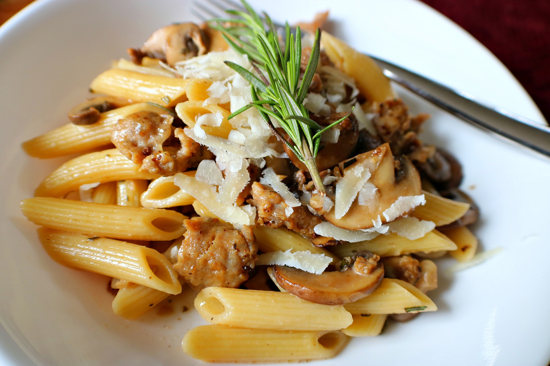 penne marsala with sausage and rosemary