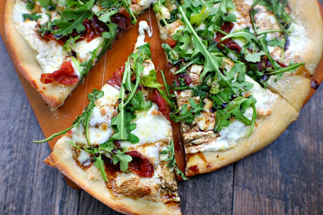 wine night pizza, prosciutto arugula pizza