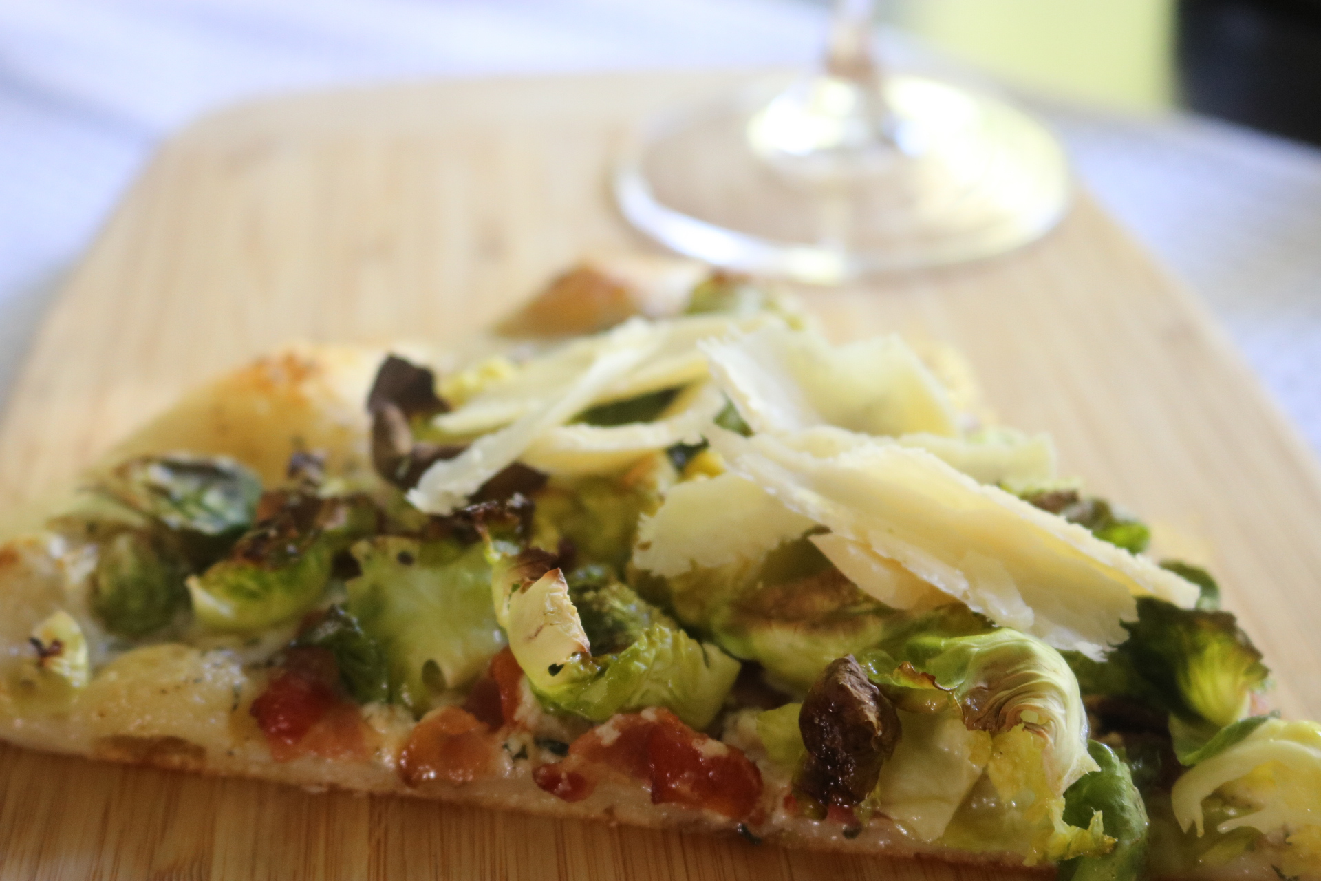 Brussels sprouts with bacon pizza - this pizza will revolutionize the way you think about pizza night ~ www.mangiamichelle.com